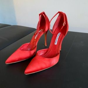 Manolo Blahnik red satin pumps with ankle strap